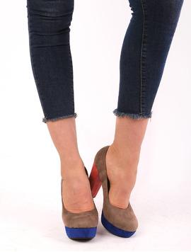Pantofi Dama Cu Platforma Si Toc Gros Bamboo Bej Si Albastru