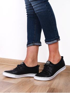 Pantofi Dama Sport Cu Siret Elastic Alive Negru Si Alb