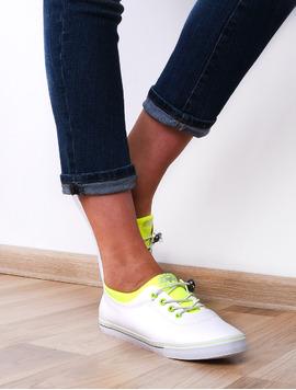 Pantofi Dama Sport Cu Siret Elastic Alive Alb Si Verde Neon