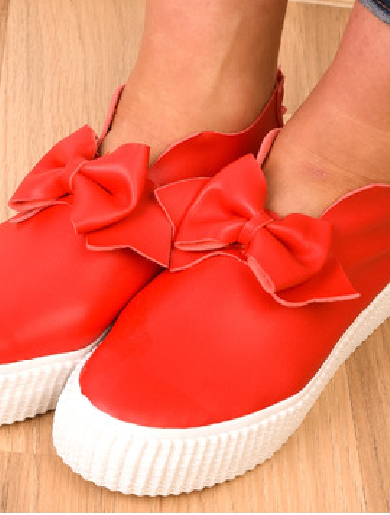 Pantofi Dama Sport Cu Fundita Decorativa Bride Rosii