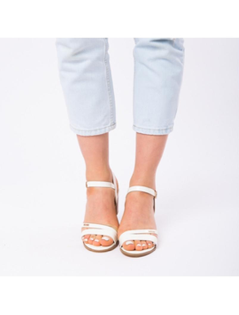 Sandale Dama Cu Toc Mic Sarah Albe