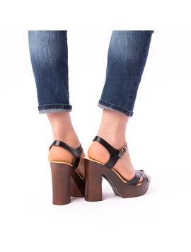 Sandale Dama Cu Toc Mare Jules Negre