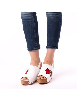 Sandale Dama Cu Broderie Fancy Albe