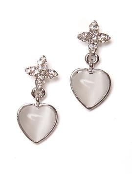 Cercei Floare Cu Inima Argintii