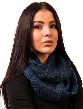 Fular Dama Circular Tricotat Bleumarin