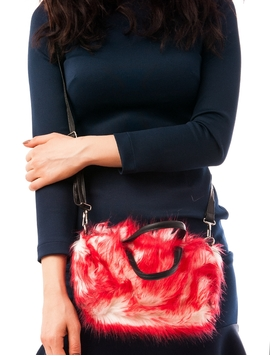 Geanta Dama Cu Blanita Artificiala Rosu Si Alb
