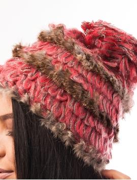 Caciula Cu Blanita Si Ciucure Roz Si Maro