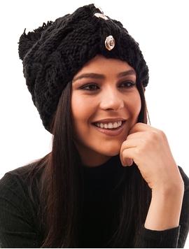 Caciula Tricotata Cu Trei Nasturi In Fata Neagra