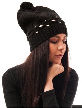 Caciula Tricotata Cu Pietricele In Fata Neagra