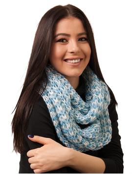 Fular Dama Circular Tricotat Bleu Si Alb