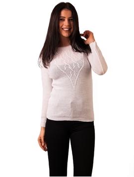 Pulover Dama Cu Model Cu Romburi Alb