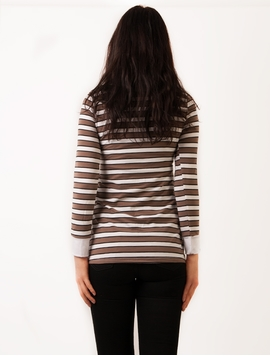 Bluza Dama Cu Imprimeu Metalic Maro Si Alb