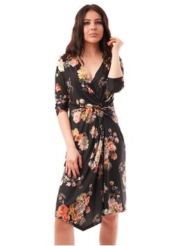 Rochie Cu Model Floral Neagra