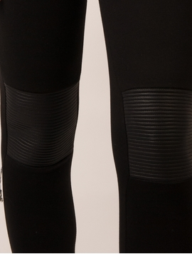 Pantaloni Dama Stil Colant Cu Piele Ecologica La Genunchi Negri