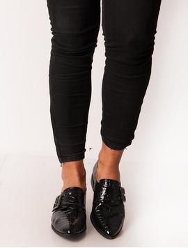 Pantofi Dama Luciosi Si Texturati Negri