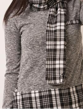 Bluza Dama Cu Esarfa In Carouri Gri