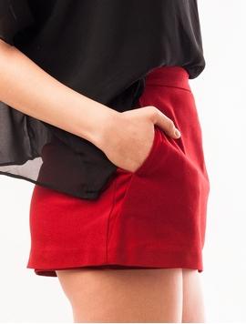Fusta-Pantalon Mini Grena