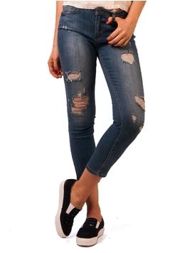Jeans Dama Cu Rupturi Albastru
