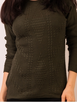 Pulover Dama Cu Model In Fata Kaki