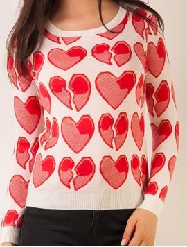 Pulover Dama Cu Inimioare Alb
