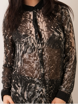 Camasa Dama Din Voal Cu Model Neagra