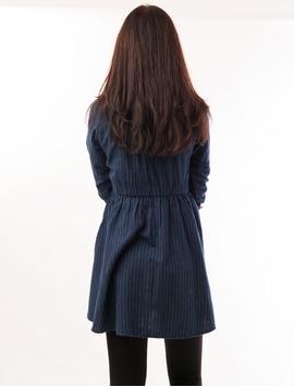 Camasa Dama Stil Rochita Cu Elastic In Talie Bleumarin