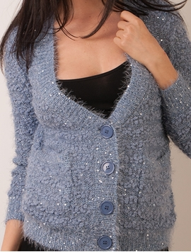 Pulover Dama Cu Nasturi Si Paiete Bleu