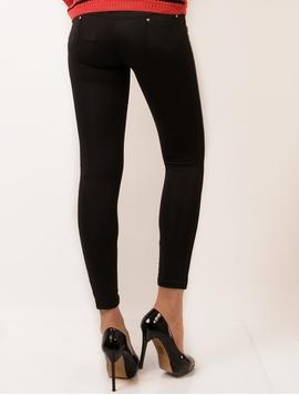 Pantaloni Dama Stil Colant Cu Piele Ecologica Lateral Negri