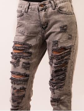Jeans Dama Cu Rupturi Gri