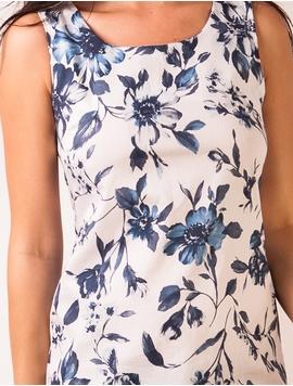 Rochie Cu Imprimeu Cu Flori Albastru Si Alb