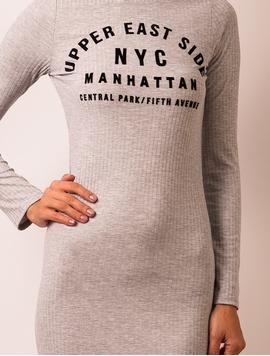 Rochie Cu Imprimeu In Fata NYC Gri