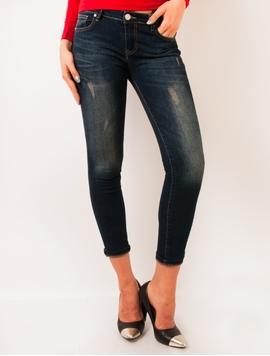 Jeans Dama Usor Prespalati Albastru Inchis
