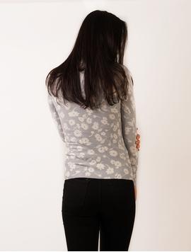 Bluza Dama Cu Flori Gri Si Alb