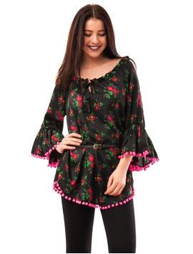 Bluza Dama Cu Model Floral, Ciucuri Si Curea Negru Si Fucsia