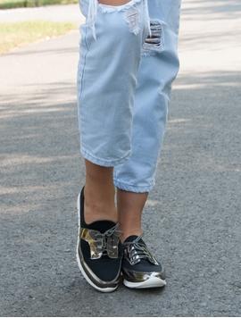 Pantofi Sport Dama Luciosi Negri
