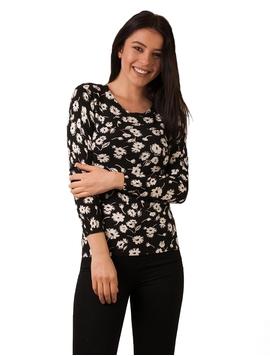 Bluza Dama Cu Flori Negru Si Alb