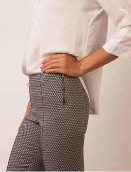 Pantaloni Dama Stil Colant Cu Fermoar Alb Negru