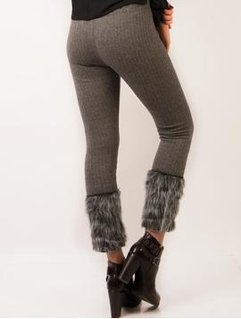 Pantaloni Dama Cu Blana Artificiala La Baza Gri