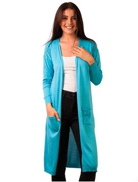 Cardigan Dama Lung Cu Buzunare Albastru