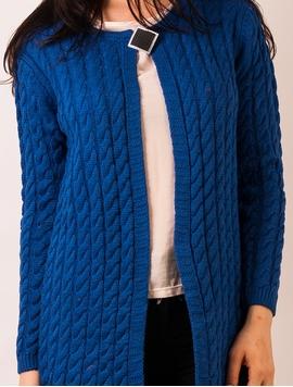 Cardigan Dama Accesorizat Cu Brosa Albastru
