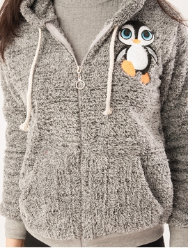 Hanorac Dama Pufos Cu Imprimeu Pinguin Si Fermoar Gri