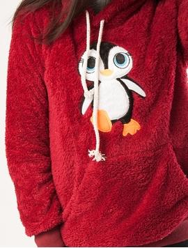 Hanorac Dama Pufos Cu Imprimeu Pinguin Grena