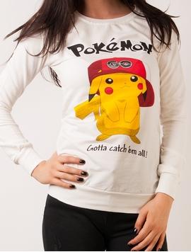 Bluza Dama Sport Cu Imprimeu Cu Pokemon Alb