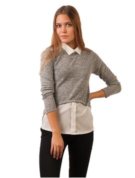 Bluza Dama Cu Baza Si Guler Stil Camasa Gri