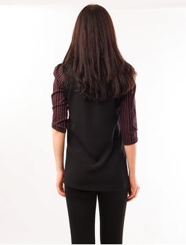 Bluza Dama Cu Dungi Verticale Negru Si Rosu
