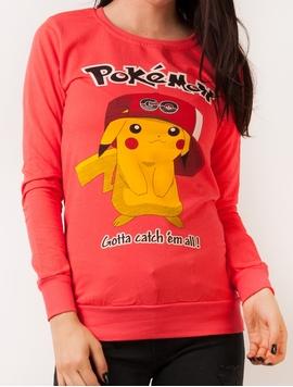 Bluza Dama Sport Cu Imprimeu Cu Pokemon Corai