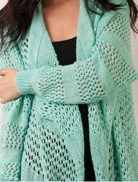 Cardigan Dama Cu Model Tricotat Si Franjuri Verde Strident