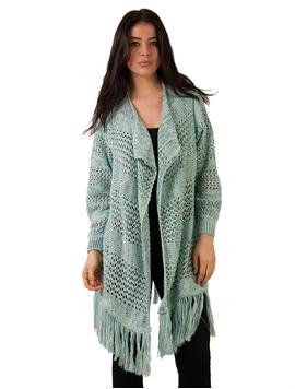 Cardigan Dama Cu Model Tricotat Si Franjuri Verde Si Negru