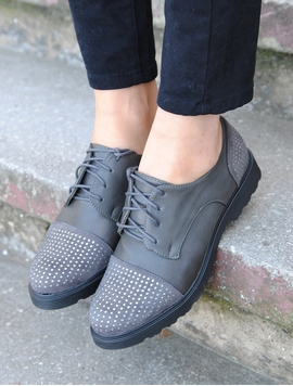 Pantofi Dama Cu Strasuri Gri Petrol