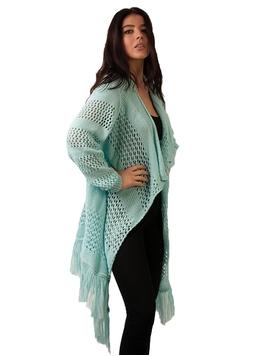 Cardigan Dama Cu Model Tricotat Si Franjuri Verde Deschis